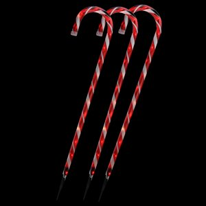 Northlight Lighted Candy Cane Christmas Outdoor Decor - 28-in - Red and White - Set of 3