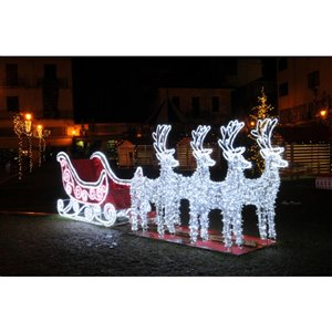 Northlight Pre-Lit Commercial Size 3D Reindeer and Sleigh Outdoor Decoration - 14.75-ft
