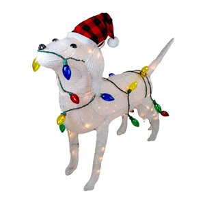 Northlight Lighted 3D Standing Dog Christmas Outdoor Decoration - 34-in - White