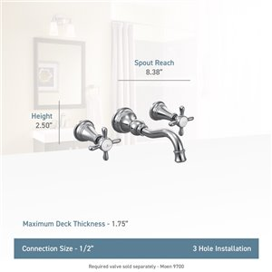 Moen Weymouth Two-Handle Wall Mount Faucet - Polished Nickel (Valve Sold Separately)