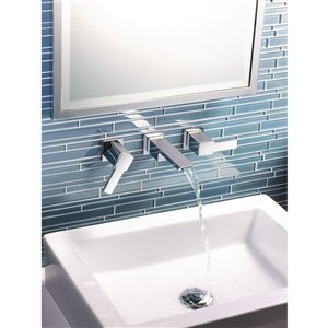 Moen 90 Degree Two-Handle Wall Mount Faucet - Brushed Nickel (Valve Sold Separately)