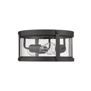 Z-Lite Roundhouse 3-Light Outdoor Flush Mount Ceiling Light - Black Finish