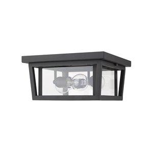 Z-Lite Seoul 3-Light Outdoor Flush Mount Ceiling Light in Black and Clear Glass