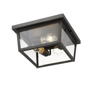 Z-Lite Beacon 3-Light Outdoor Flush Mount Ceiling Light - Bronze and Clear Glass