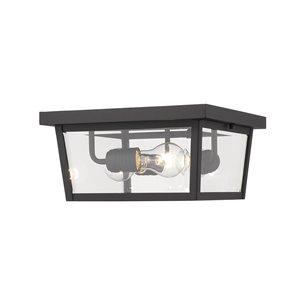 Z-Lite Beacon 3-Light Outdoor Flush Mount Ceiling Light in Black