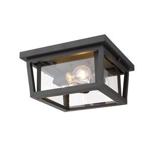 Z-Lite Seoul 3-Light Outdoor Flush Mount Ceiling Light - Bronze and Clear Glass