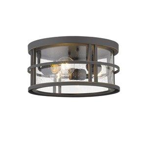 Z-Lite Jordan 3-Light Outdoor Flush Mount Ceiling Light - Bronze and Clear Glass