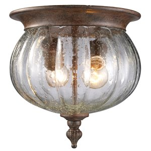Z-Lite Belmont Outdoor Flush Mount Ceiling Light - Bronze and Clear Glass