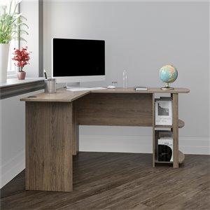 Dakota L-Shaped Desk with Bookshelves, Rustic Oak