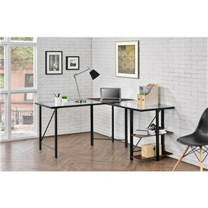 Cruz Glass Top L Desk, Cherry