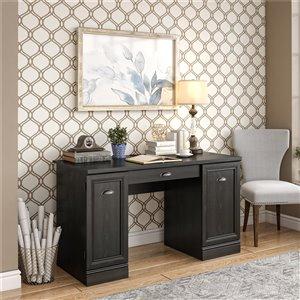 Delaney Double Pedestal Desk, Black Oak