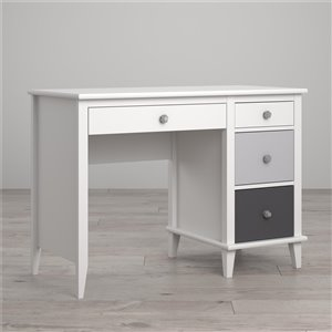 Monarch Hill Poppy Kids White Desk, Grey Drawers