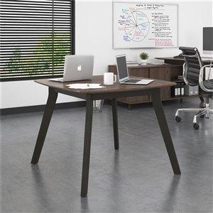 AX1 Square Meeting Table, Medium Brown
