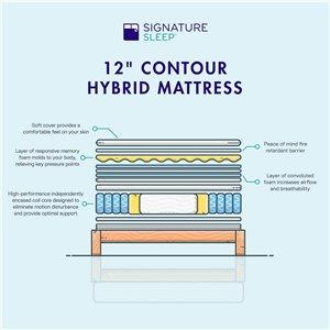 "Signature Sleep Contour Hybrid 12"" Encased Coil Memory Foam Mattress"