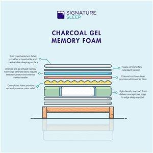 "Signature Sleep Flex 12"" Charcoal Gel Memory Foam"