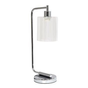 Simple Designs Antique Style Industrial Iron Lantern Desk Lamp with Glass Shade - Chrome - 19-in