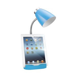 LimeLights Gooseneck Organizer Desk Lamp - Blue - 18.5-in