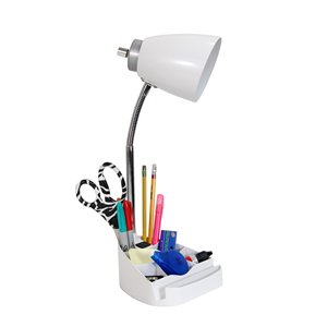 LimeLights Gooseneck Organizer White Desk Lamp with Charging Outlet - 18.5-in