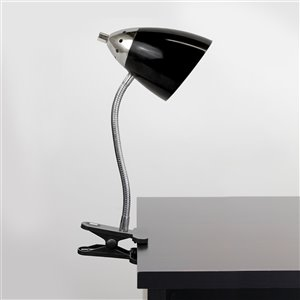LimeLights Flossy Flexible Gooseneck Clip Light Desk Lamp - Black - 18.5-in