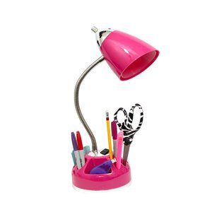 LimeLights Organizer Desk Lamp with Charging Outlet - Pink - 20-in