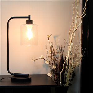 Simple Designs Antique Style Industrial Iron Lantern Desk Lamp with Clear Glass Shade - Black - 19-in