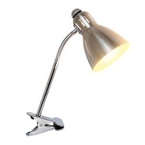 Simple Designs Adjustable Clip Light Desk Lamp Brushed Nickel - 14.17-in