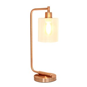 Simple Designs Antique Style Industrial Iron Lantern Desk Lamp with Clear Glass Shade - Rose Gold - 19-in