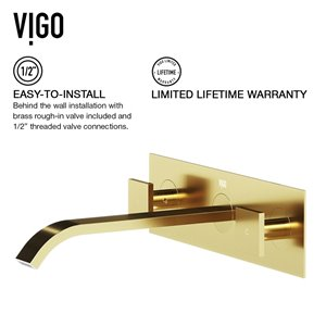 VIGO Titus Wall Mount Bathroom Faucet in Matte Brushed Gold