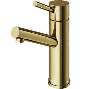 VIGO Noma Single Hole Bathroom Faucet in Matte Brushed Gold
