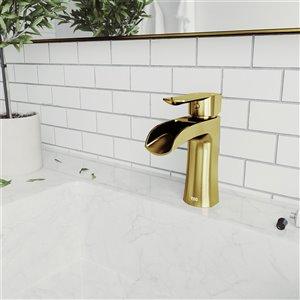 VIGO Paloma Single Hole Bathroom Faucet in Matte Brushed Gold