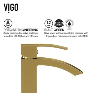 VIGO Duris Vessel Bathroom Faucet in Matte Brushed Gold