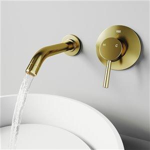 VIGO Olus Wall Mount Bathroom Faucet in Matte Brushed Gold