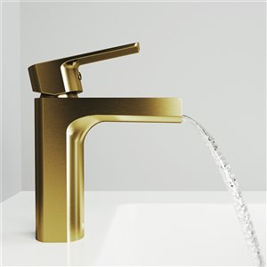 VIGO Ileana Single Hole Bathroom Faucet in Matte Brushed Gold