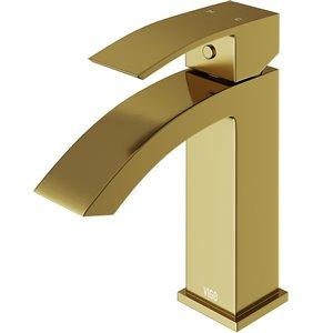 VIGO Satro Single Hole Bathroom Faucet in Matte Brushed Gold