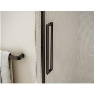 MAAX Utile Corner Shower Kit - Left Drain - 60-in x 32-in x 84-in - Origin Arctik - Dark Bronze