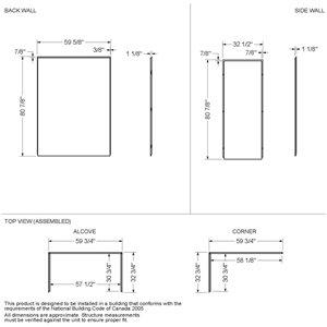 MAAX Utile Alcove Shower - Left Drain - 60-in x 32-in x 84-in - Origin Arctik - Satin black