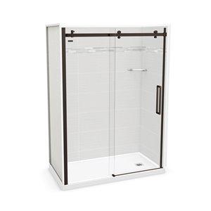 MAAX Utile Alcove Shower - Right Drain - 60-in x 32-in x 84-in - Origin Arctik - Dark bronze