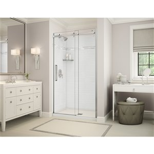 MAAX Utile Alcove Shower - Center Drain - 48-in x 32-in x 84-in - Origin Arctik - Chrome
