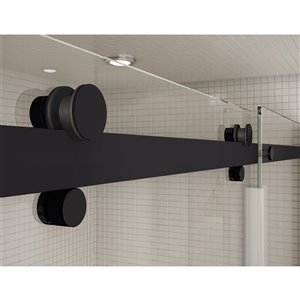 MAAX Utile Corner Shower Kit - Center Drain - 48-in x 32-in x 84-in - Origin Arctik - Black