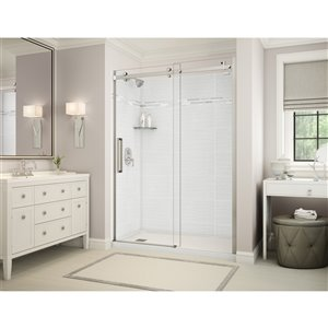MAAX Utile Alcove Shower - Left Drain - 60-in x 32-in x 84-in - Origin Arctik - Brushed nickel