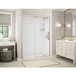 MAAX Utile Alcove Shower - Right Drain - 60-in x 32-in x 84-in - Origin Arctik - Brushed nickel