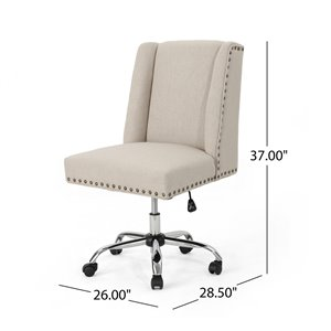 Best Selling Home Décor Chiara Contemporary Fabric Desk Chair, Wheat and Chrome (Set of 1)
