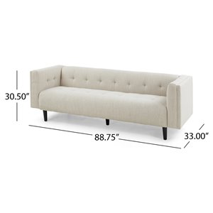 Best Selling Home Décor Ludwig Midcentury Modern Fabric Upholstered Tufted 3 Seater Sofa, Beige and Dark Brown