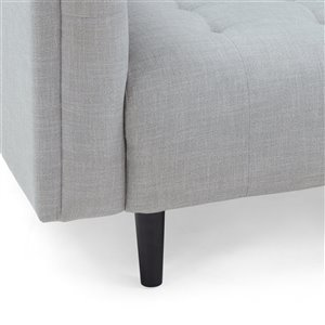 Best Selling Home Décor Ludwig Midcentury Fabric Upholstered Tufted 3 seater Sofa,  Light Gray and Dark Brown