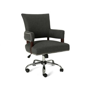 Best Selling Home Décor Bonaparte Traditional Task Chair, Dark Gray and Chrome (Set of 1)