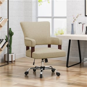 Best Selling Home Décor Bonaparte Traditional Task Chair Wheat and Chrome (Set of 1)
