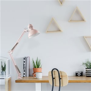 "Globe Electric Architect 31.5"" Matte Rose Swing-Arm Desk Lamp"