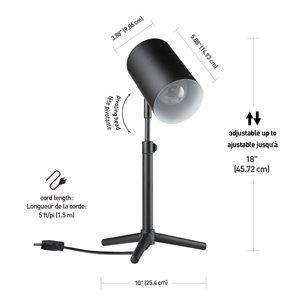 "Globe Electric Pratt 18"" Matte Black Adjustable Height Desk Lamp"