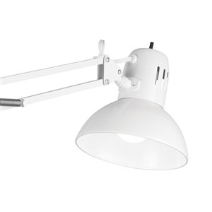 """Globe Electric Architect 31.5"""" Glossy White Swing Arm Clamp-On Desk Lamp"""