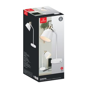 "Globe Electric Dakota 18"" Matte White Desk Lamp with 2.1 USB Port"